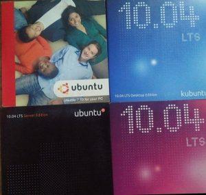 Discos de ubuntu, distribuidos gratuitamente en sus inicios