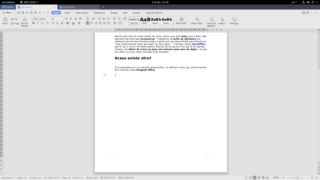 Writter de WPS Office, junglacode